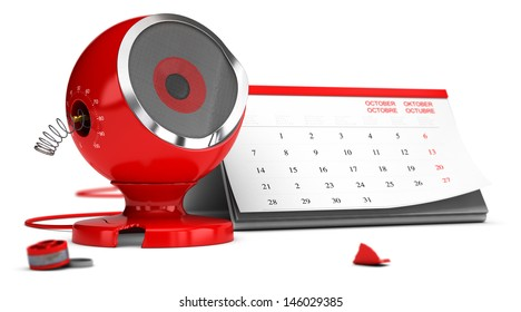 Damaged red sound speaker over white background with calendar at the background - 3D render concept design image suitable for planned obsolescence or limited life of a product.