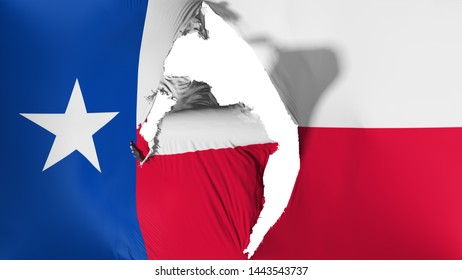 Damaged Texas state flag, white background, 3d rendering