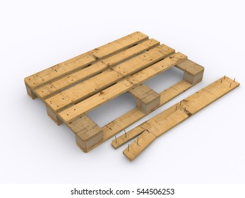 Damaged wooden pallet 3d rendering