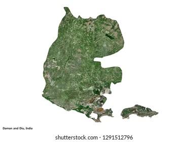 Daman and Diu, India Map (3D rendering)
