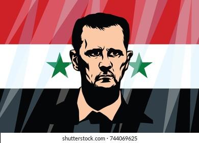 Damascus, Syria - October 29, 2017. Bashar Hafez al-Assad President of Syria. Comic cartoon vintage pop art retro illustration