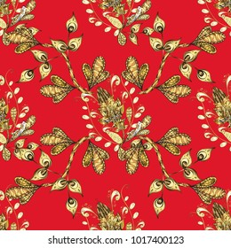 Damask background. Gold floral ornament in baroque style. Golden floral seamless pattern. Golden element on a red and yellow colors.