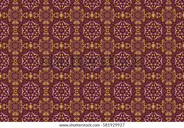 Damask elegant wallpaper. Raster seamless pattern on a purple background. Vintage design in a purple and golden colors.