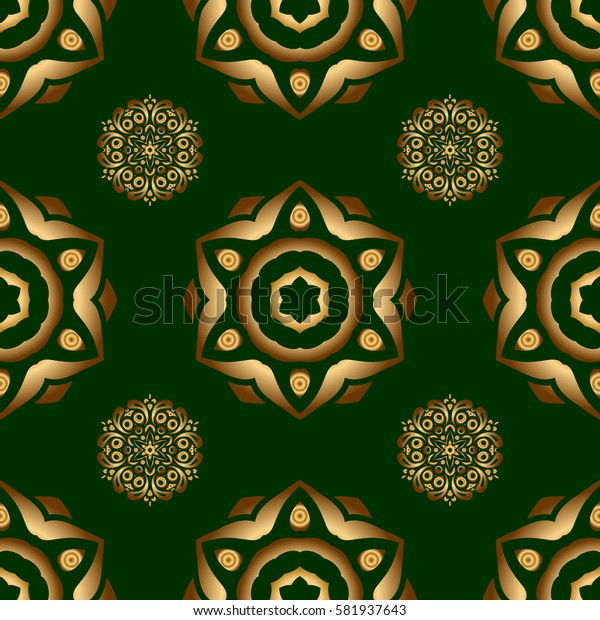 Damask elegant wallpaper. Seamless pattern on a green background. Vintage design in a green and golden colors.