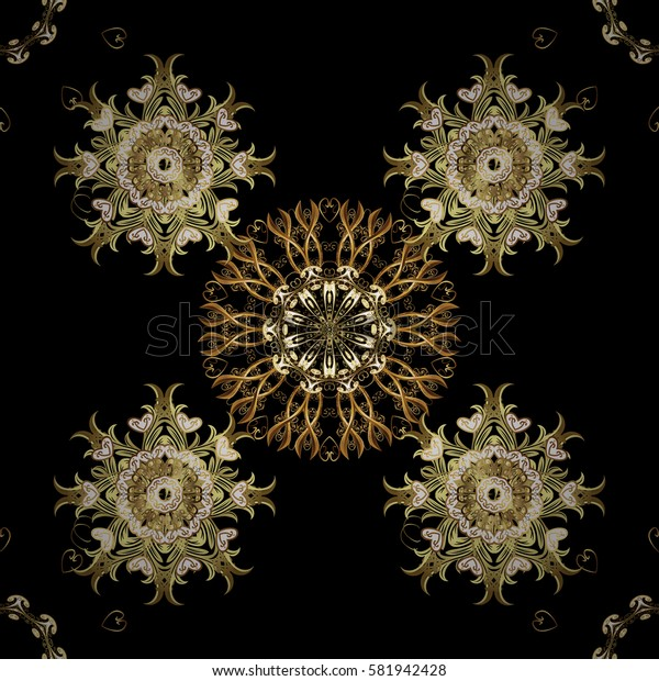 Damask gold abstract flower seamless pattern on black background. Ornate decoration.