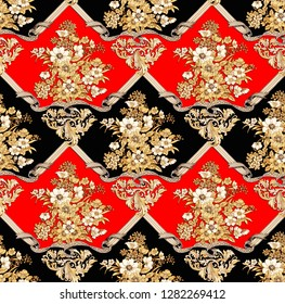 Damask Golden flowers, baroque and ribbon seamless pattern design