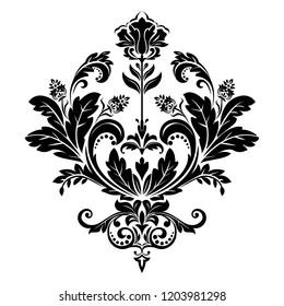 Damask graphic ornament. Floral design element. Black pattern