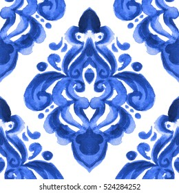 damask hand drawn floral design. Abstract seamless ornamental watercolor paint pattern for fabric