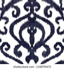 Damask ikat texture repeat modern pattern
