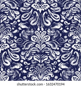 Damask indigo dyed effect distressed worn bleached graphical motif. Noisy brushed faded mottled, intricate grungy stained navy design. Seamless repeat raster jpg pattern swatch.