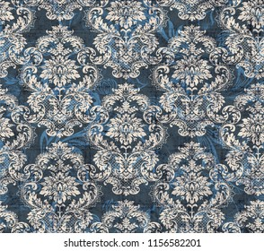 Damask pattern element.Classical luxury old fashioned ornament grunge background. textile, fabric, wrapping. Exquisite baroque templates