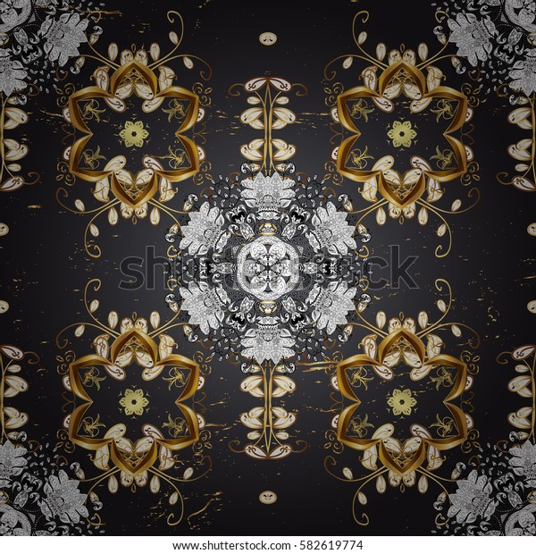 Damask repeating background. Antique golden repeatable wallpaper. Golden element on blue background. Golden blue floral ornament in baroque style.