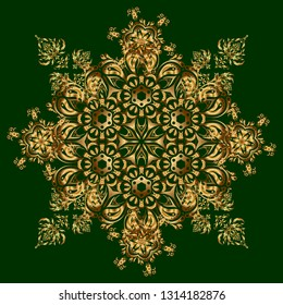 Damask seamless doodle pattern on green background.