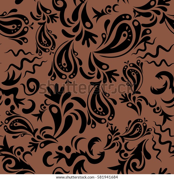 Damask seamless floral background pattern in black and brown colors.