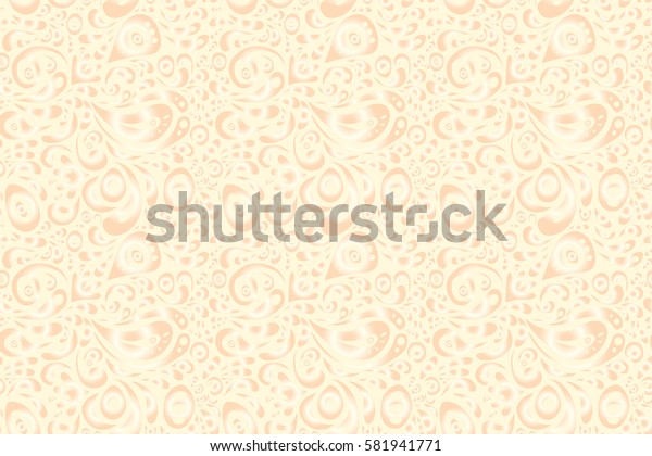 Damask seamless floral background pattern in neutral and beige colors.