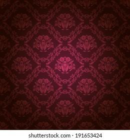 Damask seamless floral pattern. Royal wallpaper. Flowers on a dark background. Illustration.