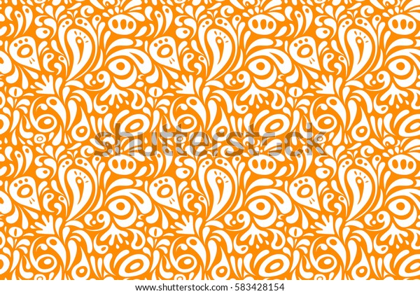 Damask seamless floral pattern in white and orange colors. Raster illustration.