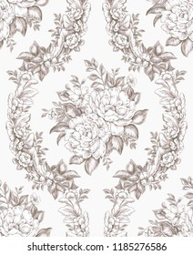 Damask Seamless Pattern Drawings : Roses and Leaves