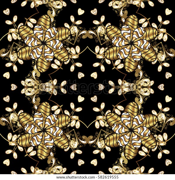 Damask seamless pattern repeating background. Golden floral ornament in baroque style. Antique golden repeatable wallpaper. Golden element on black background.