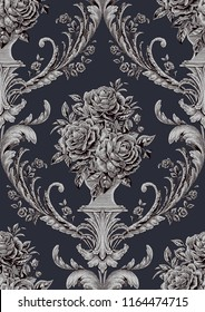 Damask Seamless Pattern :Roses