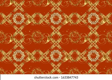 Damask seamless repeating background. Gold Wallpaper on texture background. Gold floral ornament in baroque style. Golden element on orange and brown colors.