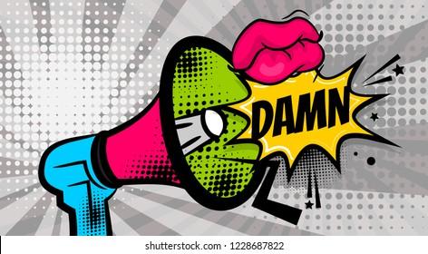DAMN pop art megaphone pink woman sexy lips, wow star. Comics book balloon. Bubble speech phrase. Cartoon girl lipstick font label tag expression. Comic text sound effects illustration.