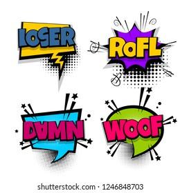 damn rofl woof loser set lettering. Comics book balloon. Bubble icon speech pop art phrase. Cartoon font label expression. Comic text sound effects illustration.