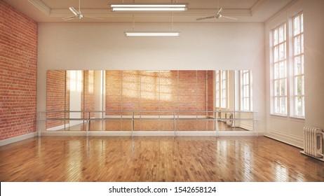 Dance or ballet studio interior. 3d illustration