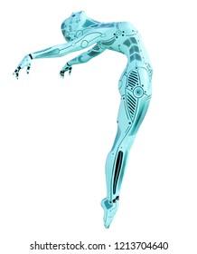 Dance robot woman. Metal azure droid. Artificial Intelligence. Conceptual fashion art. Realistic 3D render illustration. Studio, isolate, high key.