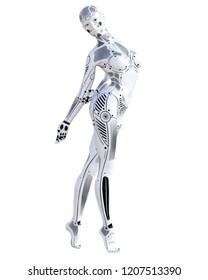 Dance robot woman. Metal droid. Artificial Intelligence. Conceptual fashion art. Realistic 3D render illustration. Studio, isolate, high key.