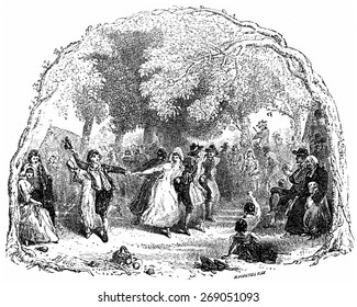 Dance, vintage engraved illustration. From Chemin des Ecoliers, 1861.