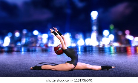 Dancer girl doing split exercise, redhead woman wearing headphones with city skyline at night in background, 3D rendering