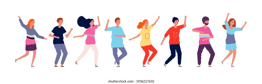 Dancers. Adult people jumping and dancing in line party happy group of characters illustration