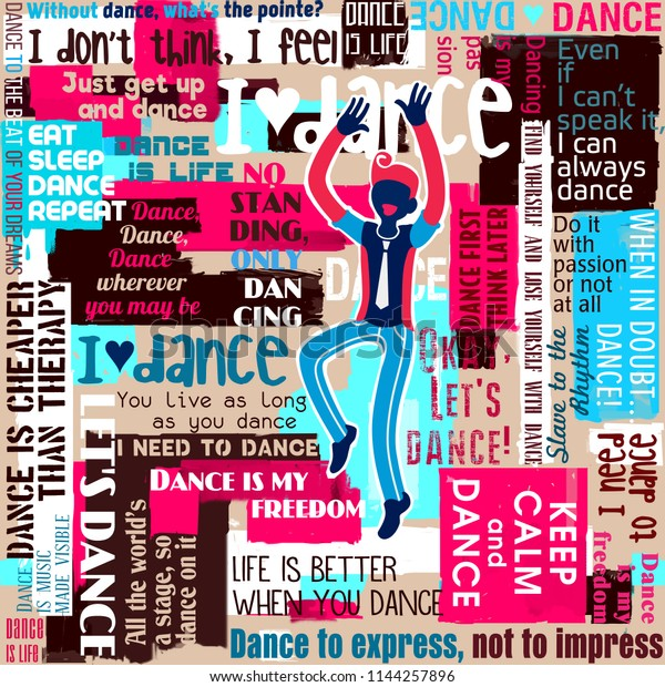 Dancers Dance Sayings Quotes Collage Lettering Stock Illustration