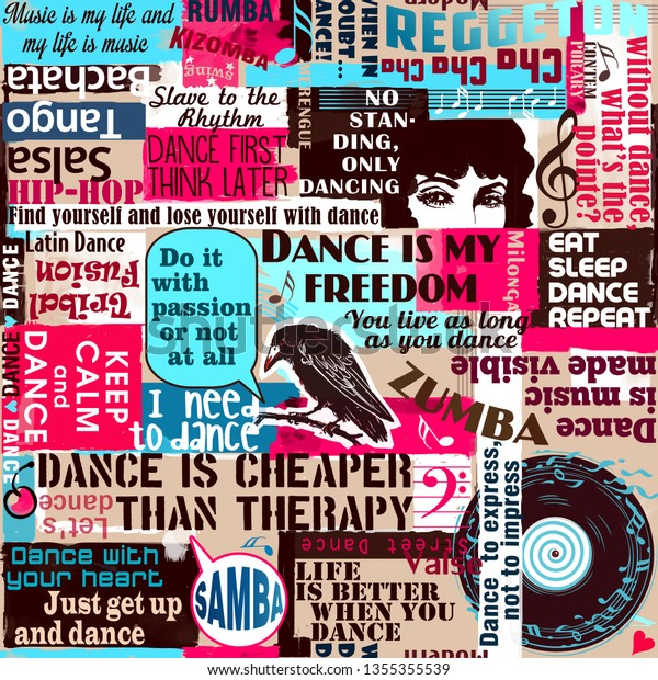 Dancers Dance Sayings Quotes Collage Zumba Stock Illustration 1355355539