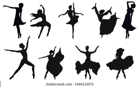 Dancers silhouettes - set of nine female figures - isolated on white background
