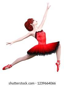 Dancing ballerina.Red ballet tutu.Redhead girl with blue eyes.Ballet dancer.Studio photography.High key.Conceptual fashion art.3D render realistic illustration.White background.