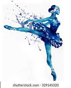 Dancing Ballerina in blue .Watercolor illustration
