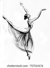 Dancing ballerina. Ink black and white illustration.