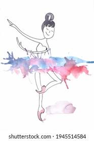 Dancing ballerina wearing a concert dress