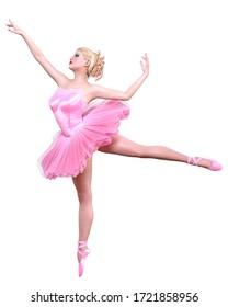 Dancing ballerina.Pink ballet tutu.Blonde hair girl blue eyes.Ballet street dancer.Studio photography.High key.Conceptual fashion art.3D render isolate illustration.