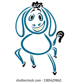 dancing blue donkey with a funny hairstyle and a big smile