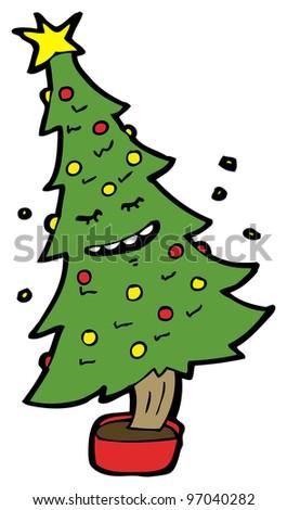 dancing christmas tree cartoon