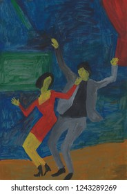 Dancing couple. Dancers in a nightclub. Rock and roll. Evening leisure. Boogie-woogie. Abstract painting. Acrylic artwork. Red, blue and green background.