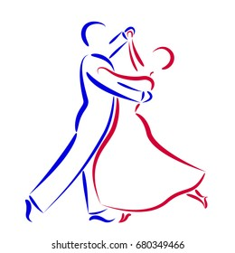 Dancing couple logo isolated on white background. Dancing couple silhouette. Waltz dancers illustration.