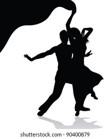 Dancing couple  silhouette (also available vector version)