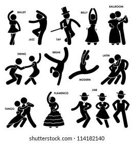 Dancing Dancer Ballet Jazz Tap Belly Ballroom Swing Break Modern Latin Tango Flamenco Line Stick Figure Pictogram Icon