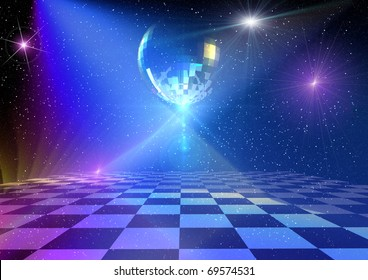 Dancing floor with mirror ball and stars. Rendered 3d background