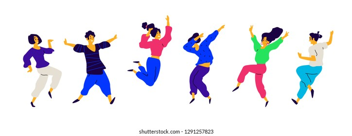 Dancing and fun people, positive emotions. Illustrations of males and females. Flat style. A group of happy and joyful teenagers. Shapes are isolated on a white background. Funny poses.