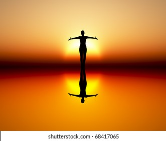 Dancing girl in the rising sun as symbol for wealth, joy, elegance and success.